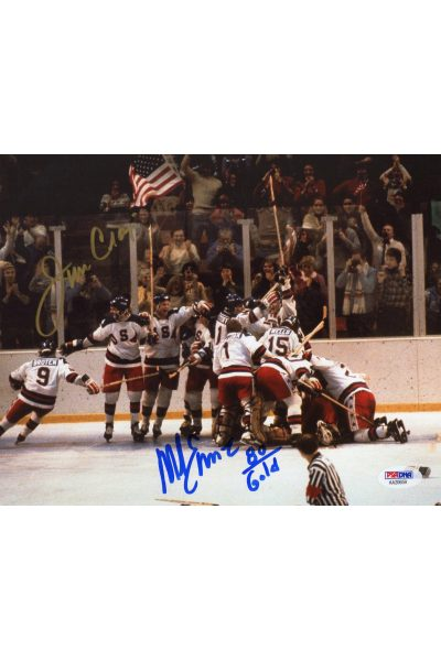 Mike Eruzione Jim Craig 8x10 Photo Signed Auto PSA DNA 1980 Gold Miracle on Ice