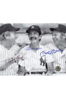 Mickey Mantle Billy Martin Whitey Ford Signed 8x10 Photo Autographed