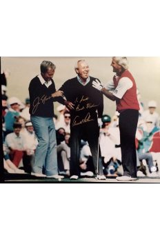 Arnold Palmer Jack Nicklaus Signed 16x20 Photo with Greg Norman