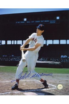 Ted Williams Signed 8x10 Photo Autographed Batting color