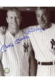 Mickey Mantle Joe DiMaggio Signed 8x10 Photo Autographed Old Timers day