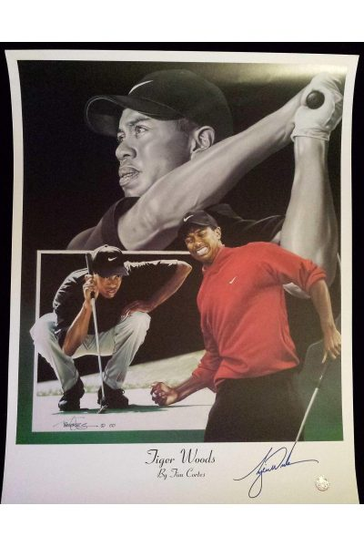 Tiger Woods Signed 16x20 Lithograph Tim Cortes Autographed Masters