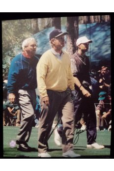 Tiger Woods Signed 11x14 Photo 1996 Masters with Arnold Palmer Jack Nicklaus