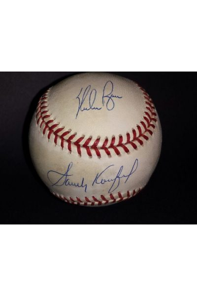 Sandy Koufax Nolan Ryan Signed OML Baseball Photo Autographed