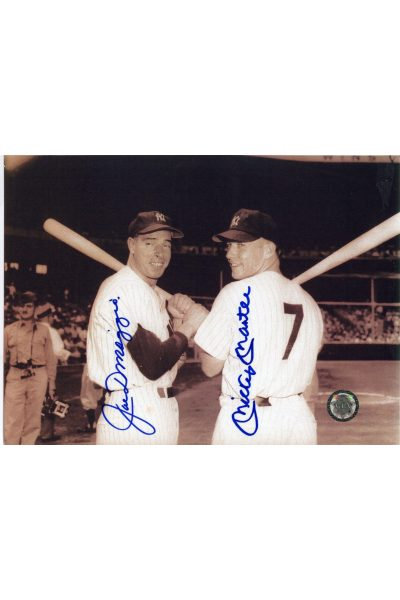 Mickey Mantle Joe DiMaggio Signed 7x9 Photo Autographed