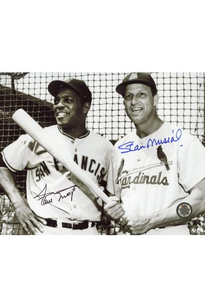 Willie Mays Stan Musial Signed 8x10 Photo Autographed