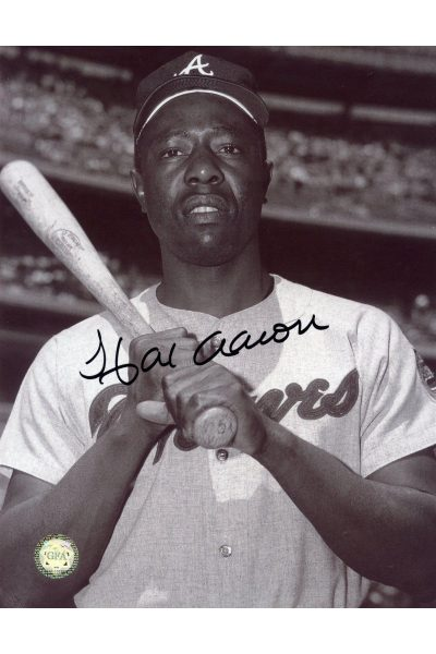 Hank Aaron Signed 8x10 Photo Autographed Posed Bat on Shoulder B&W