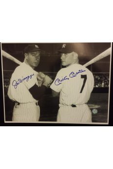 Mickey Mantle Joe DiMaggio 11x14 Photo Autographed