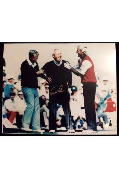 Arnold Palmer Signed 16x20 Photo with Jack Nicklaus Greg Norman