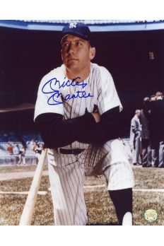 Mickey Mantle Signed 8x10 Photo Autographed Knelling on Deck