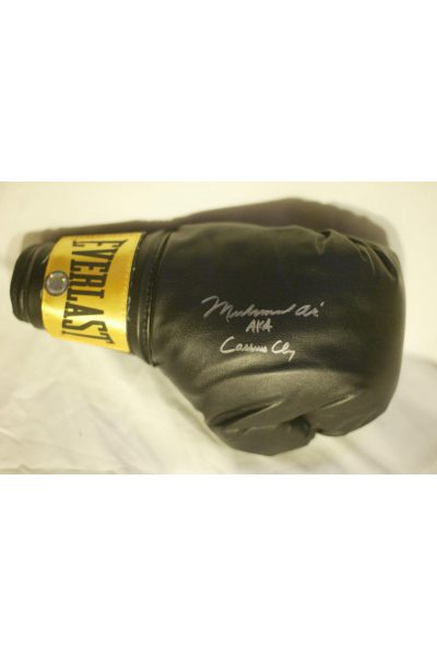 Muhammad Ali Aka Cassius Clay Signed Boxing Glove Autographed Dual Black