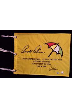 Arnold Palmer Signed Logo Stats Flag Autographed