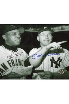 Mickey Mantle Willie Mays Signed 8x10 Photo Autographed F94