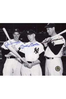 Mickey Mantle Joe DiMaggio Ted Williams Signed 8x10 Autographed