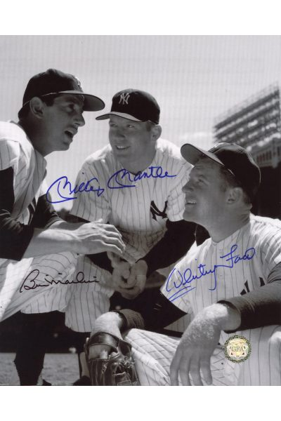 Mickey Mantle Billy Martin Whitey Ford Signed 8x10 Autographe Sitting on steps