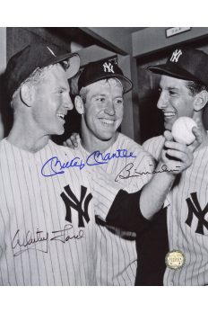 Mickey Mantle Billy Martin Whitey Ford Signed 8x10 Autographe Locker room