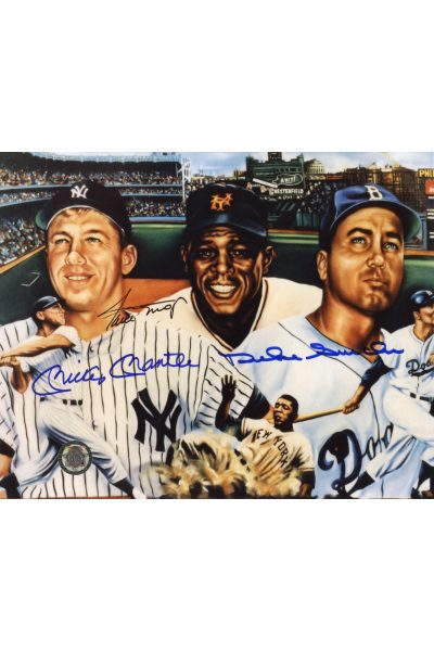 Mickey Mantle Willie Mays Duke Snider Signed 8x10 Photo Autographed Centerfielders Artwork