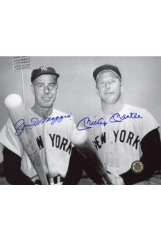 Mickey Mantle Joe DiMaggio Signed 8x10 Photo Autographed Bats out