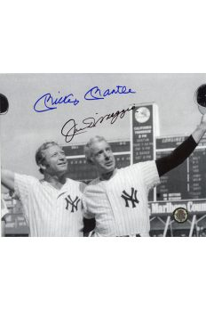 Mickey Mantle Joe DiMaggio Signed 8x10 Photo Autographed Waving Caps