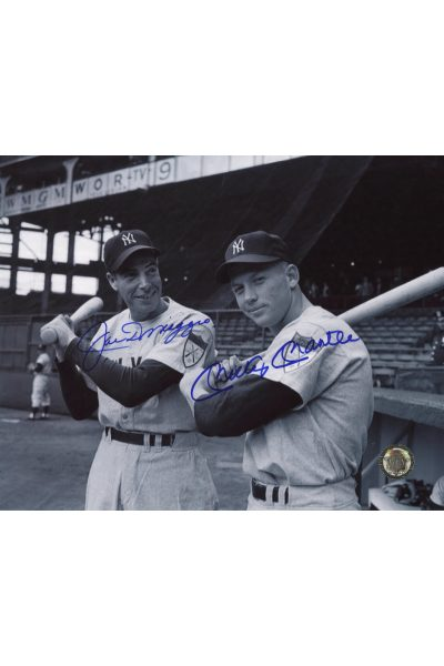Mickey Mantle Joe DiMaggio Signed 8x10 Photo Autographed s on shoulder