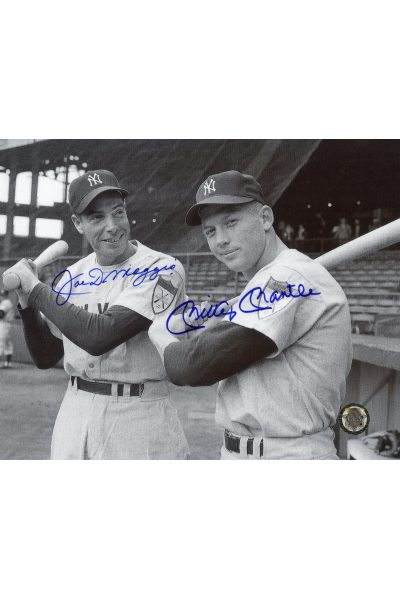 Mickey Mantle Joe DiMaggio Signed 8x10 Photo Autographed s on shoulder Close up