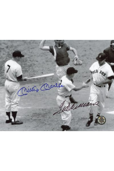 Mickey Mantle Ted Williams Signed 8x10 Photo Autographed Crossing Home