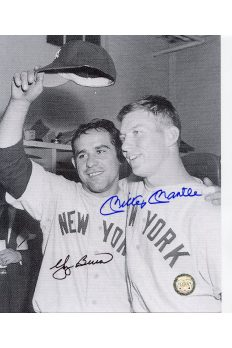 Mickey Mantle Yogi Berra Signed 8x10 Photo Autographed Celebrating locker room