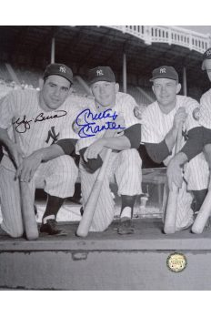 Mickey Mantle Yogi Berra Signed 8x10 Photo Autographed kneeling