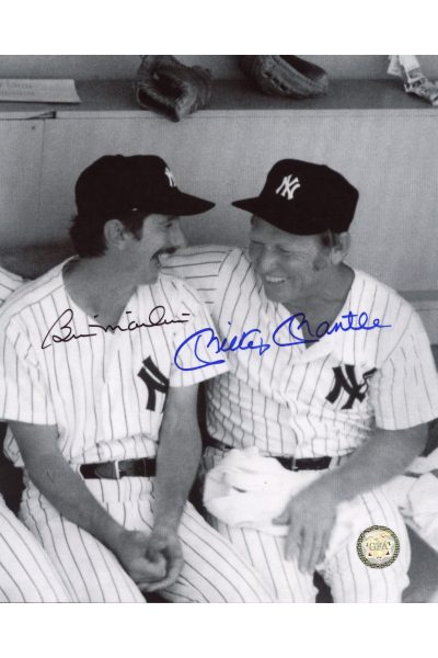 Mickey Mantle Billy Martin Bill Signed 8x10 Photo Autographed Dugout