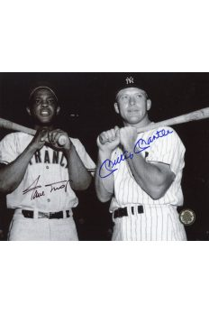 Mickey Mantle Willie Mays Signed 8x10 Photo Autographed bats on shoulder