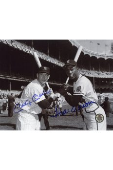Mickey Mantle Hank Aaron Signed 8x10 Photo Autographed