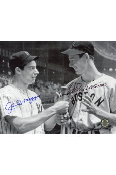 Joe DiMaggio Ted Williams Signed 8x10 Photo Autographed bat in hands
