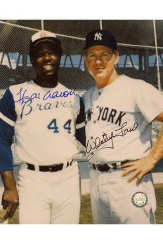 Hank Aaron Whitey Ford Signed 8x10 Photo Autographed