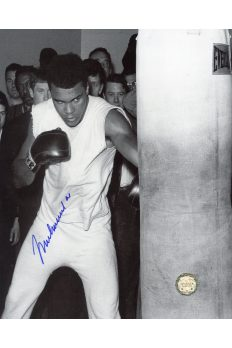 Muhammad Ali Signed 8x10 Photo Autographed Working the bag
