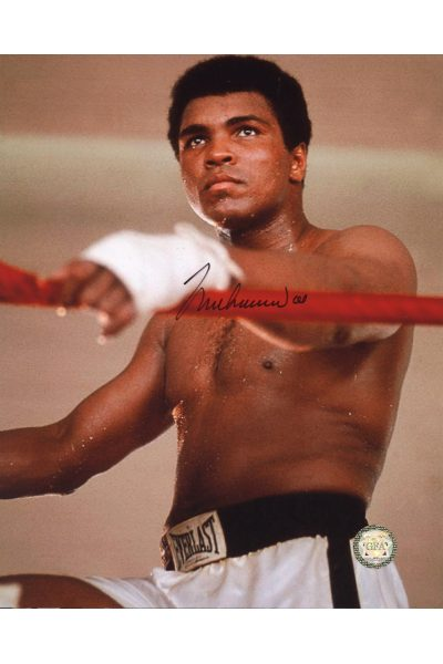 Muhammad Ali Signed 8x10 Photo Autographed Hands on the Ropes training