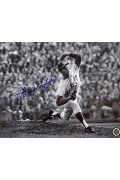 Sandy Koufax Signed 8x10 Photo Autographed Pitching Delivery B&W