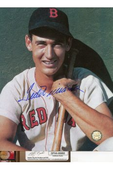 Ted Williams Signed 8x10 Photo Autographed Close up with Bat
