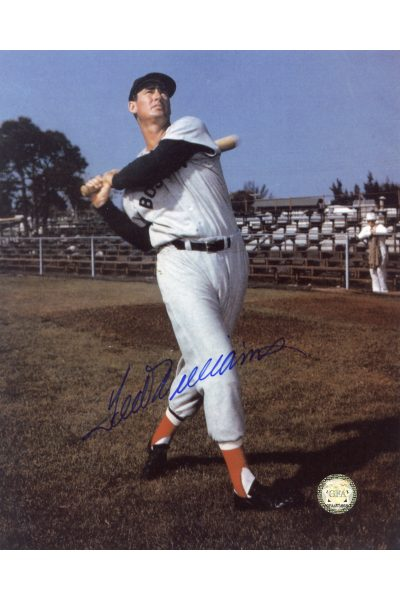 Ted Williams Signed 8x10 Photo Autographed Spring Training Posed swinging