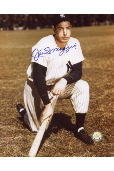 Joe DiMaggio Signed 8x10 Photo Autographed Kneeling with Bat
