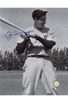 Joe DiMaggio Signed 8x10 Photo Autographed Posed with Bat on Shoulder B&W