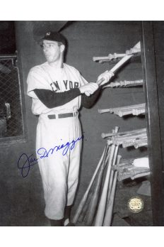 Joe DiMaggio Signed 8x10 Photo Autographed Getting Bat from bat rack