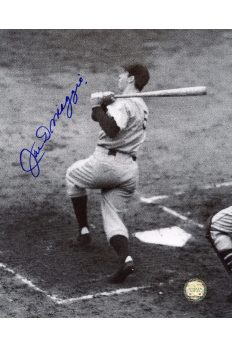 Joe DiMaggio Signed 8x10 Photo Autographed Swing at Plate benhind batter