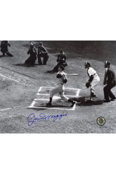 Joe DiMaggio Signed 8x10 Photo Autographed Base hit with Photographers in picture