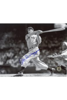 Joe DiMaggio Signed 8x10 Photo Autographed Swing at Plate Full Frame