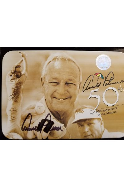 Arnold Palmer Signed Autographed Callaway Tin Set 50th Masters 4 balls Coin