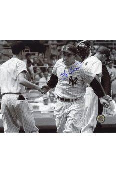 Yogi Berra Signed 8x10 Photo Autographed Shaking hands home plate
