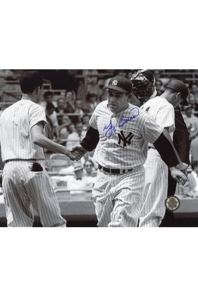 Yogi Berra Signed 8x10 Photo Autographed Shaking hands home plate