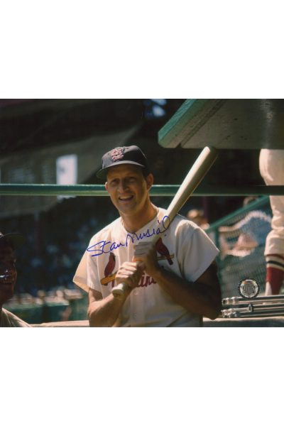 Stan Musial Signed 8x10 Photo Autographed Posed bat on Shoulder