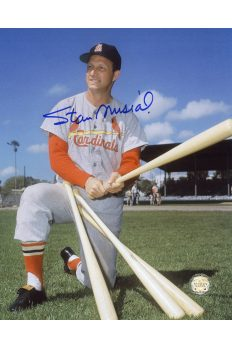 Stan Musial Signed 8x10 Photo Autographed Kneeling with Bats