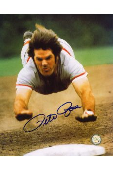 Pete Rose Signed 8x10 Photo Autographed Sliding Headfirst Reds